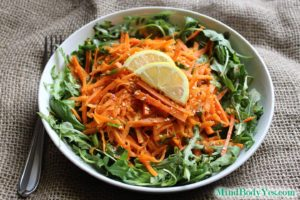 Recipe for Green Carrot Salad with Ginger Vinaigrette