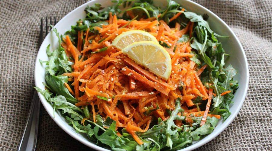 Recipe for Green Carrot Salad with Ginger Vinaigrette