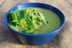 Healthy Vegetarian Edamame Broccoli and Basil Soup Recipe